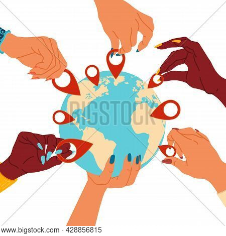 Choice Location In Your Hands. People Marking Whereabouts Icons On Map. Arms Of Multiracial Persons