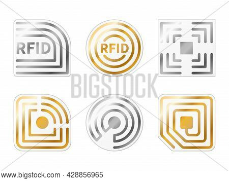 Rfid Tags. Golden, Silver Radio Chips Icons. Metallic Identification Electromagnetic Label Templates