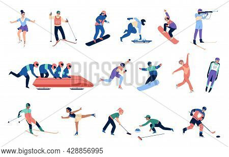 Winter Sports People. Professional Athletes, Women And Men In Specialized Suits, Sports Equipment, S