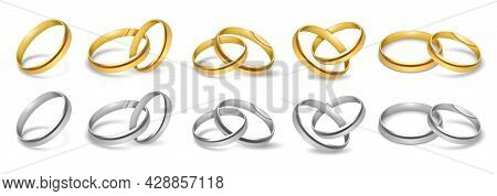 Wedding Rings. White And Yellow Metal Jewelry, Married Couple Accessories One And Pair, Gold, Silver