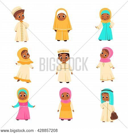 Muslim Kids. Arabian Children, Happy Islamic Boys And Girls In National Clothes, Traditional Costume