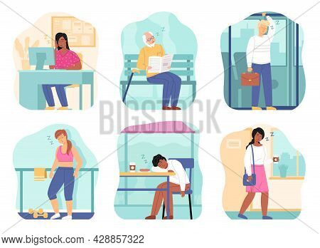 Sleepy People. Tired Persons In Different Places, Full-length Isolated Men And Women, Fatigue Charac