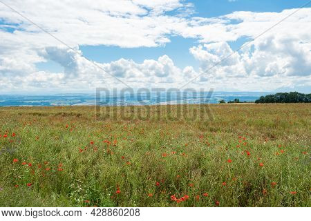 View From The Swiss Jura Mountains Over A Corn Field With Poppies Towards The Midland