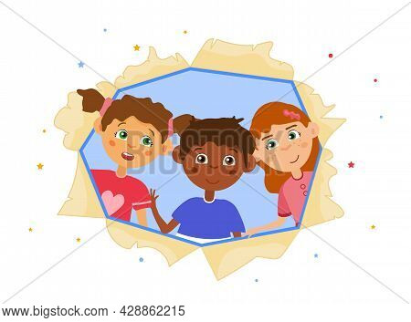 Cute Boy And Girls. Children Look Through Torn Paper Hole. Curious Child Looking For Adventures With