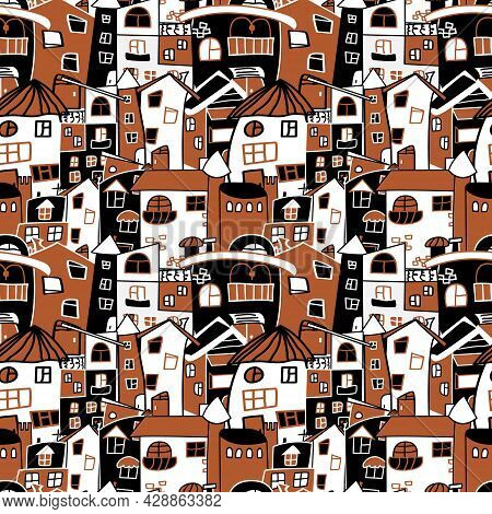 Vector Seamless Pattern With Hand-drawn Houses. Densely Drawn Houses On The Pattern. Creative Three-