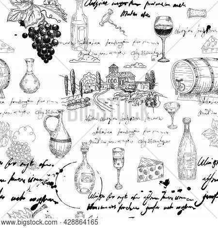 Seamless Pattern Wine Grape Branche, Bottles, Glasses, Vineyard, Unreadable Text, Wooden Barrel, Che