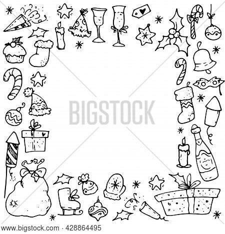 Vector Frame For Christmas. Square Frame Of Doodle Winter Elements Santa's Bag, Champagne, Holly, Ca