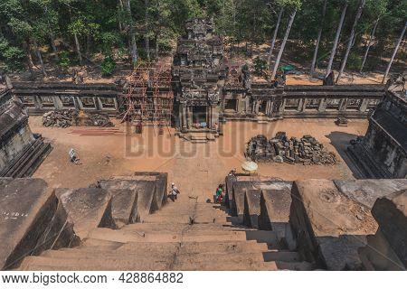 Ancient Angkor Wat Ruins Panorama. Eastern Mebon Temple. Siem Reap, Cambodia