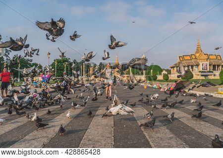 Birds At The Royal Palace Park In Front Of The Royal Palace At The Sisowath Quay At The Tonle Sap Ri