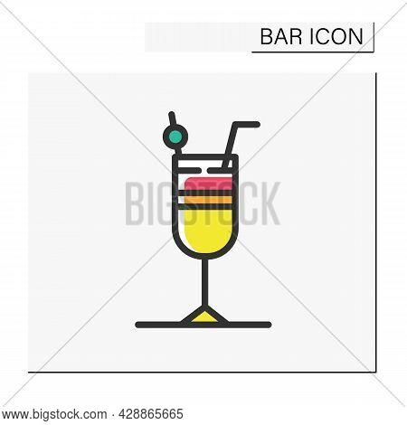 Cocktail Color Icon. Alcohol Stemware. Party Drink. Restaurant, Bar Menu. Summer Long Drink. Cocktai