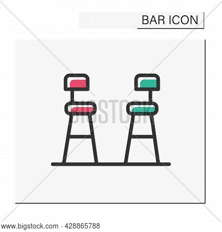 Bar Chairs Color Icon. Tall Stools. Pub, Diner, Coffee Shop, Restaurant Interior, Furniture. Cocktai