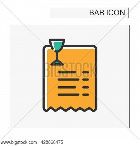 Bar Bill Color Icon. Paper Shop Receipt. Alcohol Store. Payment. Restaurant, Pub, Bar Bill. Cocktail