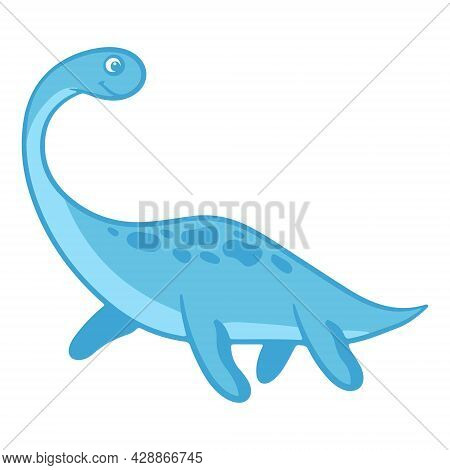 Dinosaur. Funny Colorful Dinosaur In Cartoon Style. An Animal Of The Jurassic Period. Vector.