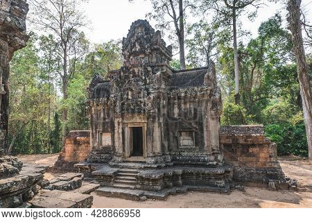 Ancient Angkor Wat Ruins Panorama. Thommanon Temple. Siem Reap, Cambodia - February 25, 2020
