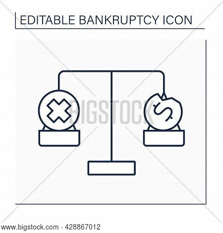 Balance Line Icon. Bankruptcy Versus Insolvency. Inability To Pay Debts. Bankrupt Is Insolvent.bankr