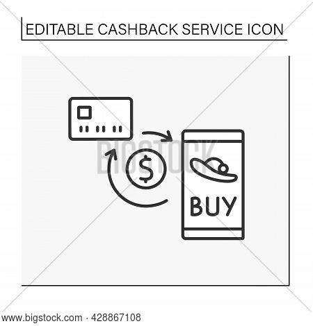 Online Shopping Line Icon. Profitable Digital Shopping With Cashback. Reimburse Money From Buying Go
