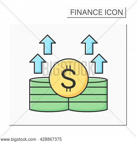 Income Increase Color Icon. Money Growth And Profit With Dollar Currency Sign And Chart Arrows. Conc