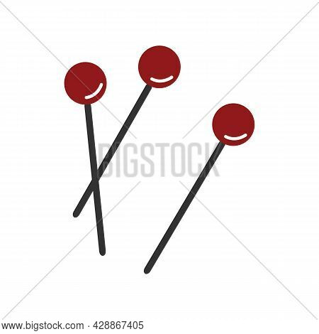 Red Push Pin Vector Illustration. Attach Buttons On Needles