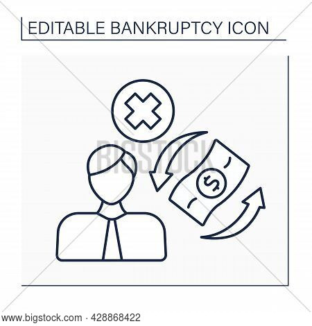 Trustee Line Icon. Officer Of Court In Whom Ownership Of Debtor Property Is Vested For Benefit Of Cr