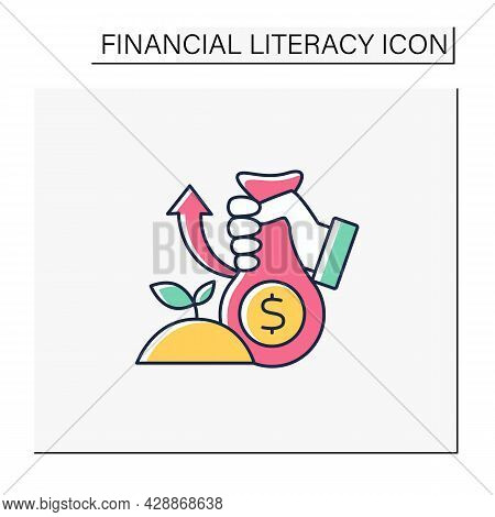 Investments Color Icon. Investing Money In Profitable Business. Investition. Accumulate Earnings.fin
