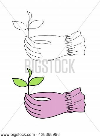 Gloved Female Hand Holding A Sprout In A Simple Flat Graphic Outline Style. Isolated Vector Garden G