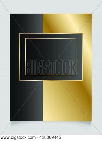 Elegant Golden And Black Shiny Glowing Geometric Frame. Gold Metal Luxury Blank Rectangle Border. Ve