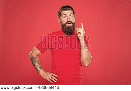 Fresh Idea. Idea Concept. Having Idea. Cognitive Process. Intellectual Work. Man With Beard Making D