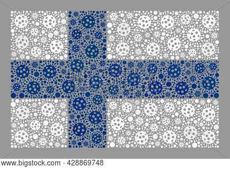 Mosaic Finland Flag Created Of Bacterium Items. Finland Flag Collage Is Designed Of Scattered Viral