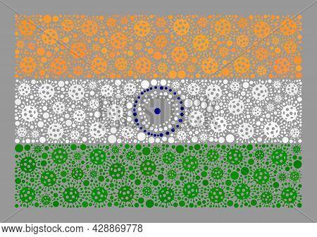 Mosaic India Flag Designed Of Covid Elements. India Flag Collage Is Shaped From Randomized Bacilla E