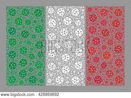 Mosaic Italy Flag Created Of Covid Items. Italy Flag Collage Is Created From Randomized Bacilla Part