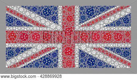 Mosaic United Kingdom Flag Designed Of Covid Items. United Kingdom Flag Collage Is Designed Of Rando
