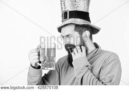 Alcohol Consumption Integral Part Saint Patricks Day. Cheers Concept. Irish Tradition. Man Brutal Be