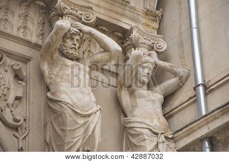 Ornamental statues of Passage Macca- Villacrosse, Bucharest