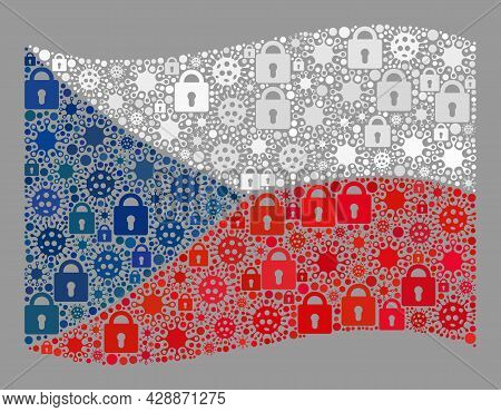 Mosaic Covid Lockdown Waving Czech Flag Constructed With Locks And Viral Elements. Vector Collage Wa