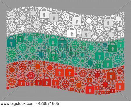 Mosaic Coronavirus Lockdown Waving Bulgaria Flag Created With Locks And Bacilla Elements. Vector Mos