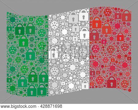 Mosaic Coronavirus Lockdown Waving Italy Flag Designed Of Locks And Virulent Icons. Vector Collage W