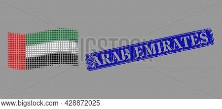 Pixelated Halftone Waving United Arab Emirates Flag Icon, And Arab Emirates Dirty Rectangle Seal Pri
