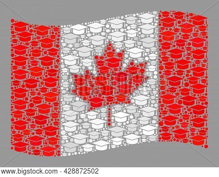 Mosaic Waving Canada Flag Constructed With Graduation Hat Items. Graduation Vector Collage Waving Ca