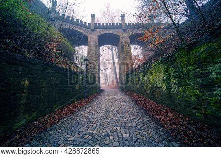 Bridge over the ravine and the medieval bridge in the autumn park