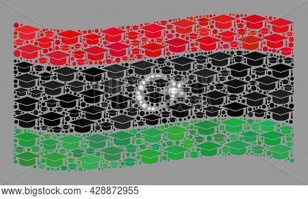 Mosaic Waving Libya Flag Created Of Graduation Cap Items. Education Vector Mosaic Waving Libya Flag