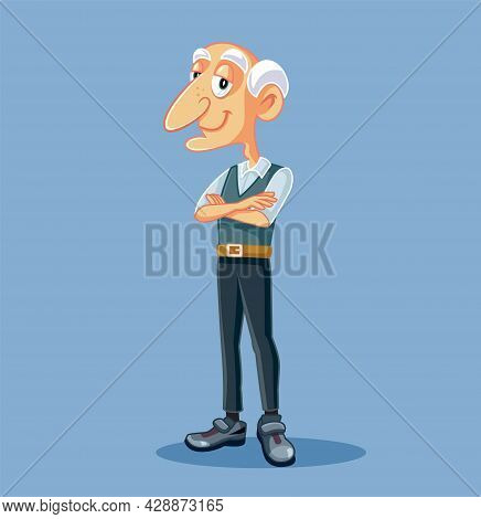 Grandpa Standing With Arms Crossed Vector Cartoon