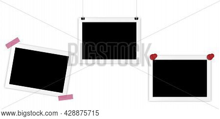 Realistic Frame On Pins. Empty Snapshot Frame Template. Old Photo. Pin Icon Set. Vector Illustration