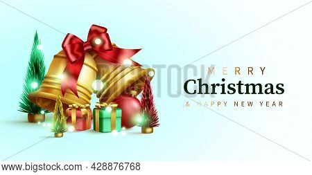 Christmas Vector Background Design. Merry Christmas Greeting Text In Empty Space With Bells, Gifts A