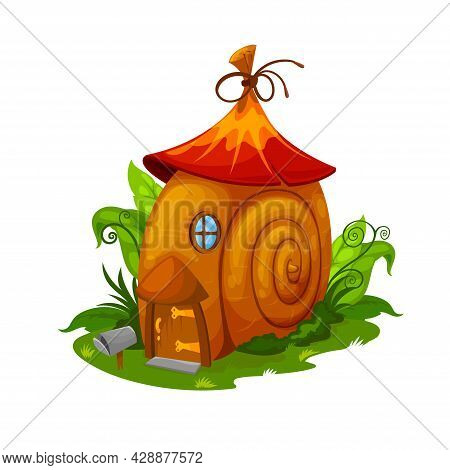 Fairy Snail House, Gnome And Elf Dwelling. Cartoon Vector Fairy Home In Cochlea Spiral Shell Placed