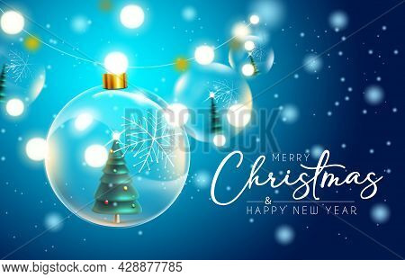 Merry Christmas Vector Background Design. Merry Christmas Greeting Text With Hanging Crystal Balls A