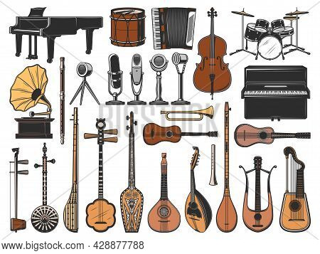 Vintage Music Instruments, Retro Microphones And Gramophone. Isolated Vector Icons Of Piano, Drums,