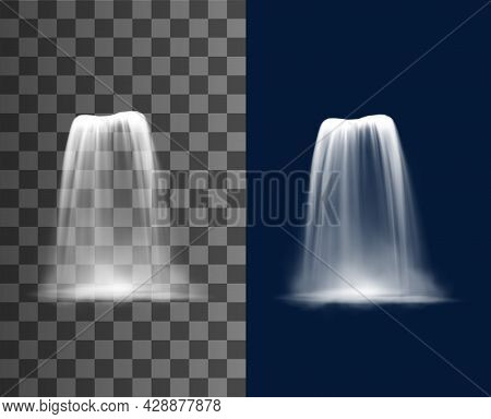 Waterfall Cascade, Realistic Water Fall Stream, Vector Fountain Cascading Natural 3d Design Elements