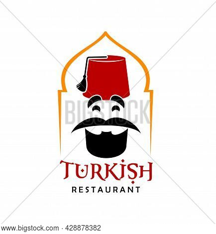 Turkish Cuisine Restaurant Chef Icon. Vector Emblem With Bearded Turk In Traditional Fez Inside Of A
