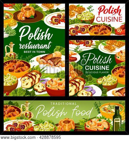 Polish Cuisine Restaurant Menu Posters. Meatloaf Ring With Quail Eggs, Carp With Sauce And Kalduny,