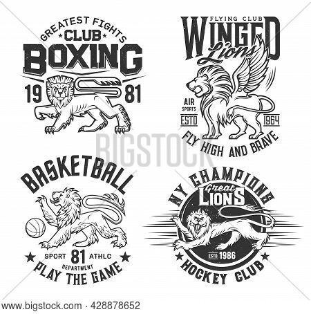 Lion Animal T Shirt Prints For Basketball, Ice Hockey And Boxing Sport Club Vector Emblems. Heraldic